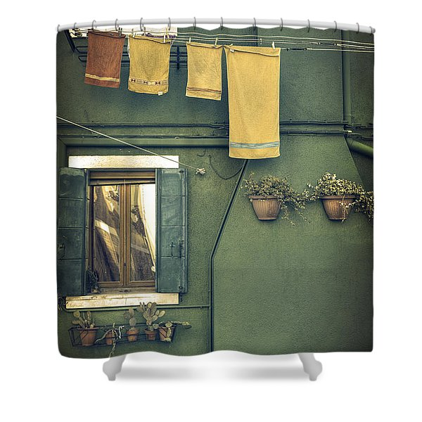 Burano - Green House Shower Curtain
