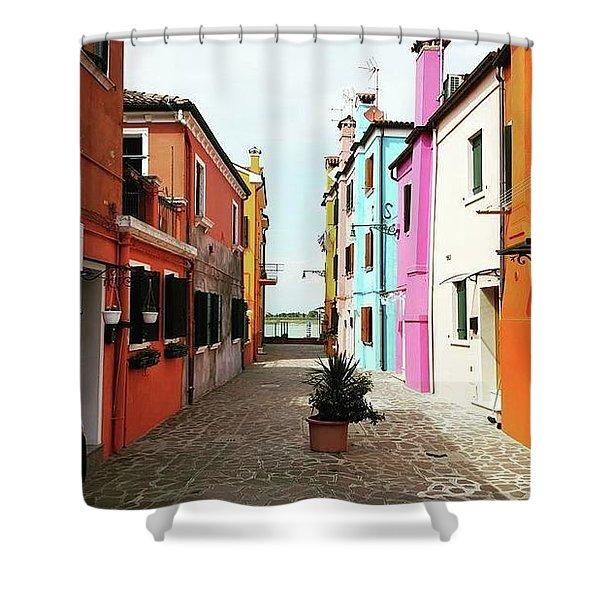 Burano Alley Shower Curtain