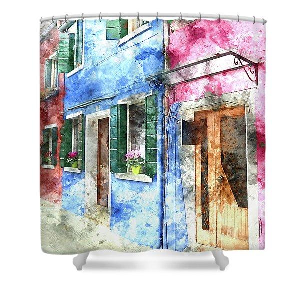 Burano Italy Buildings Shower Curtain