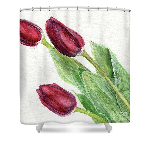 Burgundy Tulips Shower Curtain