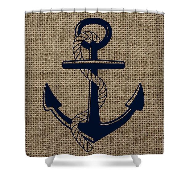 Burlap Anchor Shower Curtain