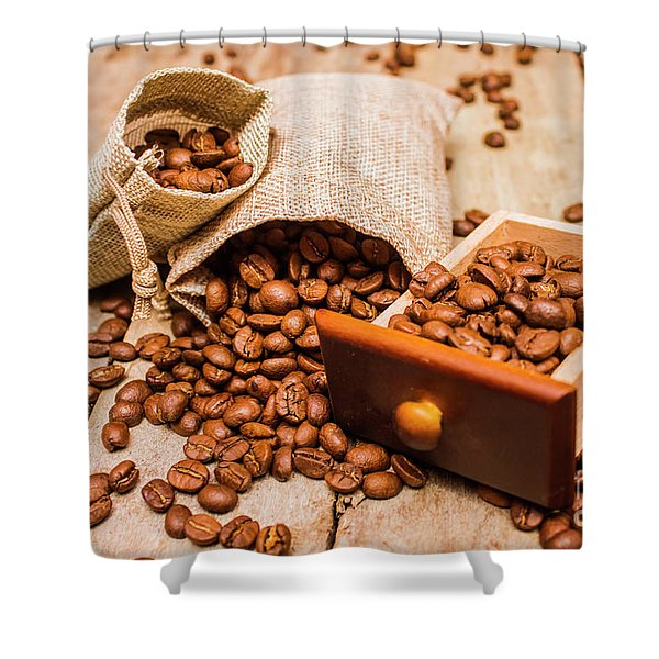 Burlap Bag Of Coffee Beans And Drawer Shower Curtain