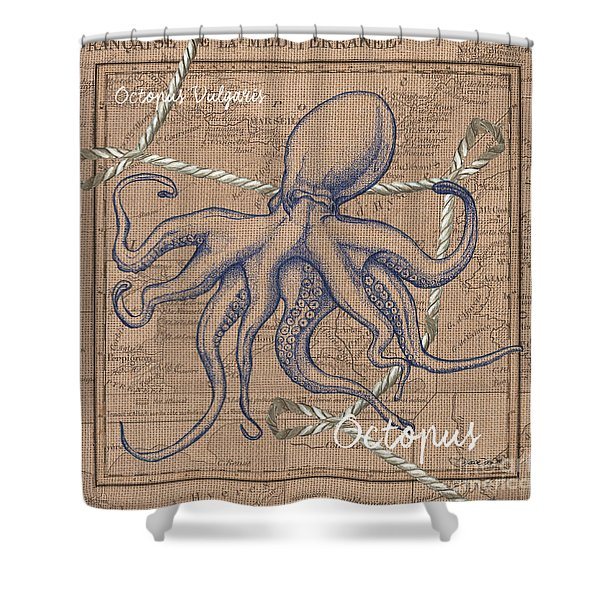 Burlap Octopus Shower Curtain