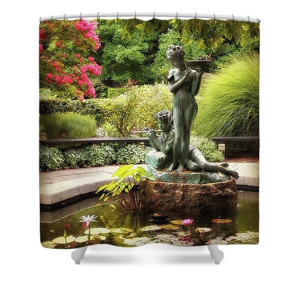 Burnett Fountain Garden Shower Curtain
