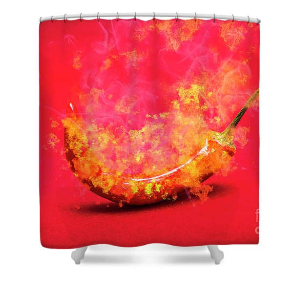 Burning Red Hot Chili Pepper. Mexican Food Shower Curtain