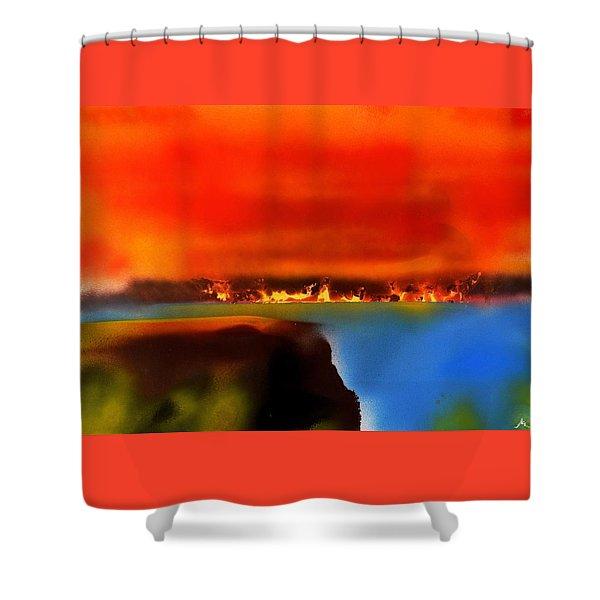 Burning Shore Shower Curtain
