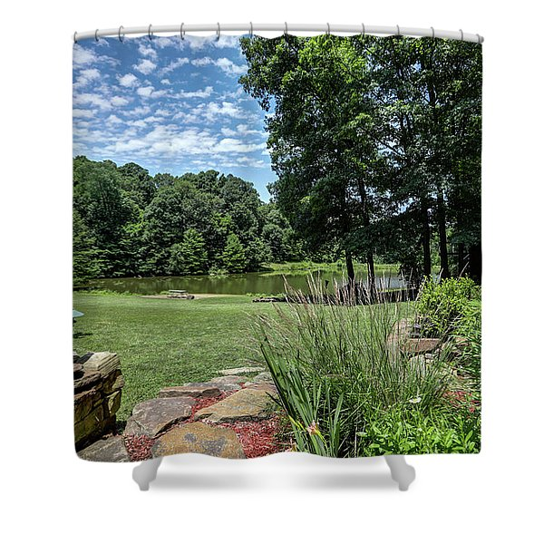 Burns Rd Yard And Pond Shower Curtain