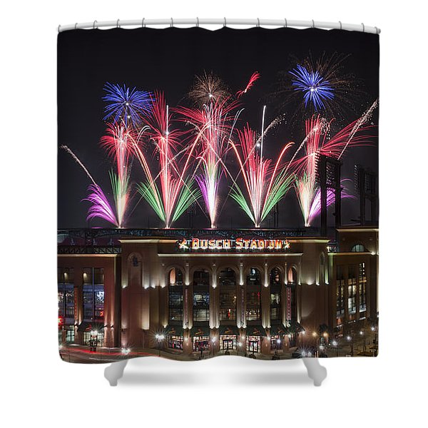 Shower Curtain featuring the photograph Busch Stadium by Andrea Silies
