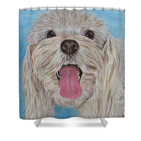 Shower Curtain featuring the painting Buster by Nancy Nale
