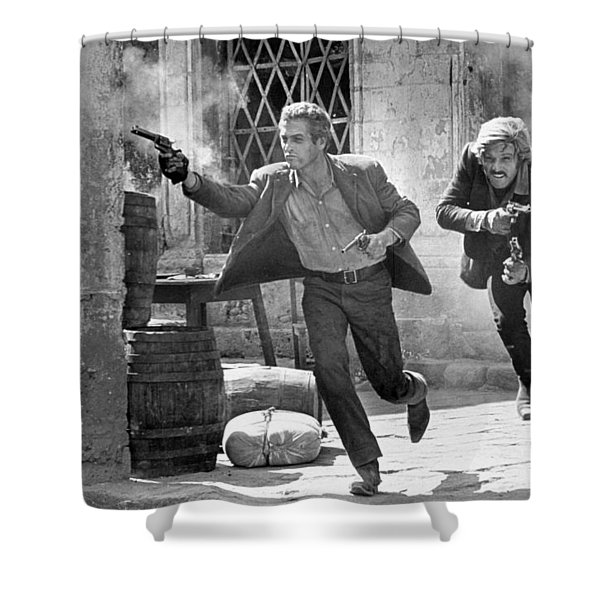 Butch Cassidy And The Sundance Kid - Newman And Redford Shower Curtain
