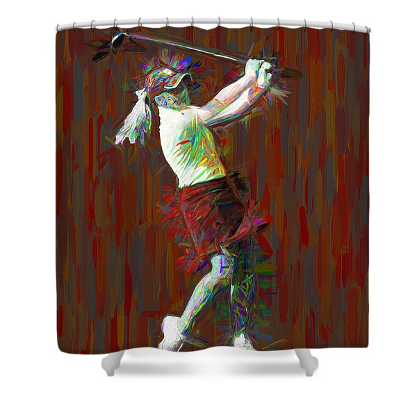 Butler University Bulldog Golfer Jporter Painted Red Shower Curtain