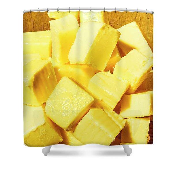 Butter Blocks Shower Curtain