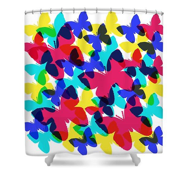Shower Curtain featuring the digital art Butterflies by Bee-Bee Deigner