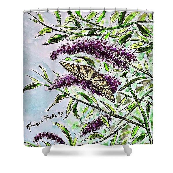 Butterfly Bush Shower Curtain
