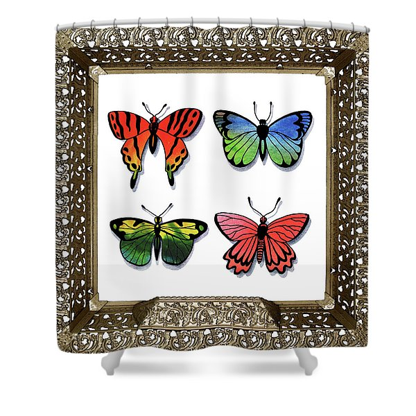 Butterfly Collection I Framed Shower Curtain
