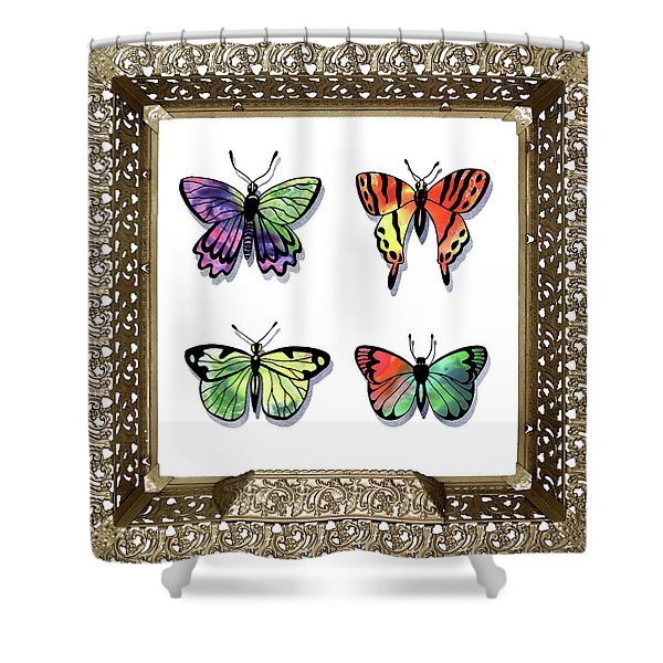 Butterfly Collection II Framed Shower Curtain
