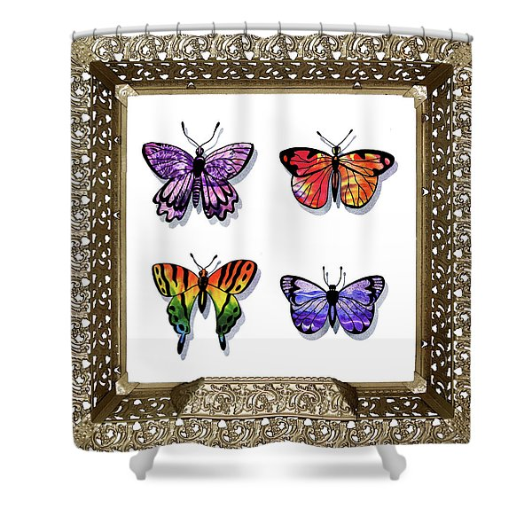 Butterfly Collection Iv Framed Shower Curtain