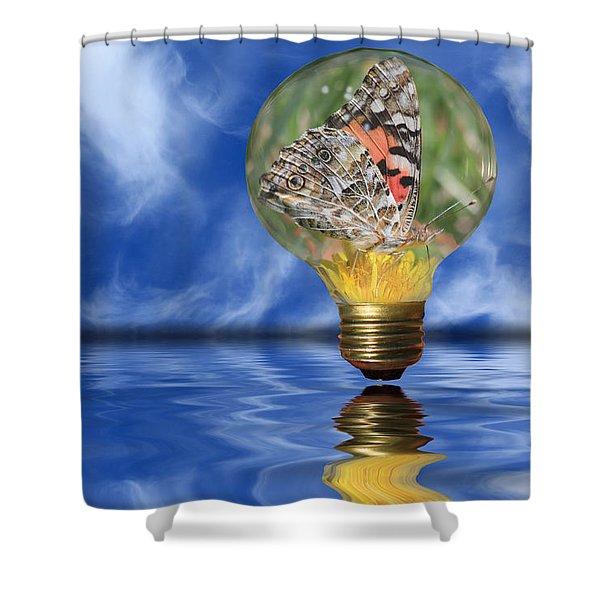 Butterfly In Lightbulb - Landscape Shower Curtain