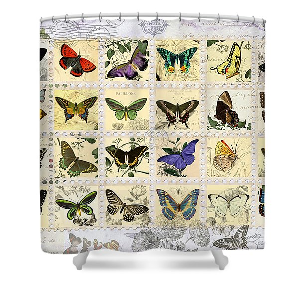 Butterfly Maps Shower Curtain