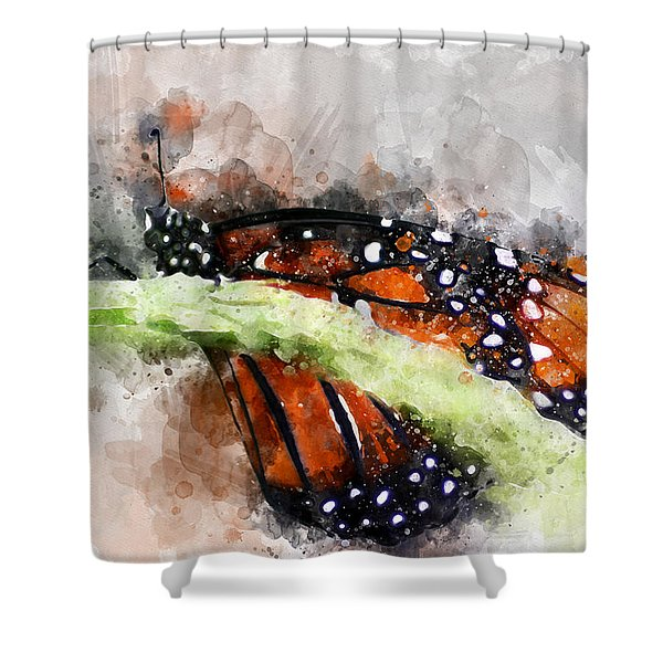 Butterfly Watercolor Shower Curtain