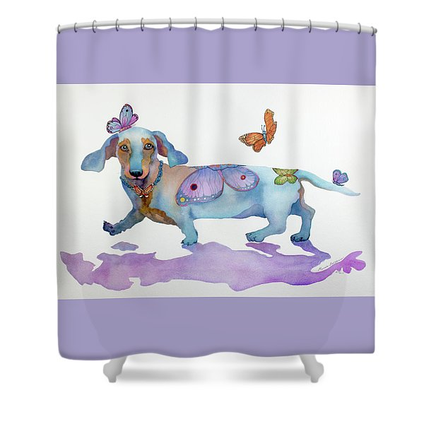 Butterfly Doxie Doo Shower Curtain