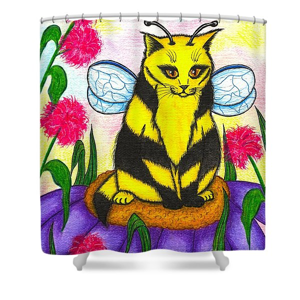 Buzz Bumble Bee Fairy Cat Shower Curtain