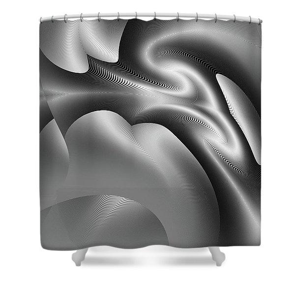 Shower Curtain featuring the digital art Bw Art 1 by Visual Artist Frank Bonilla