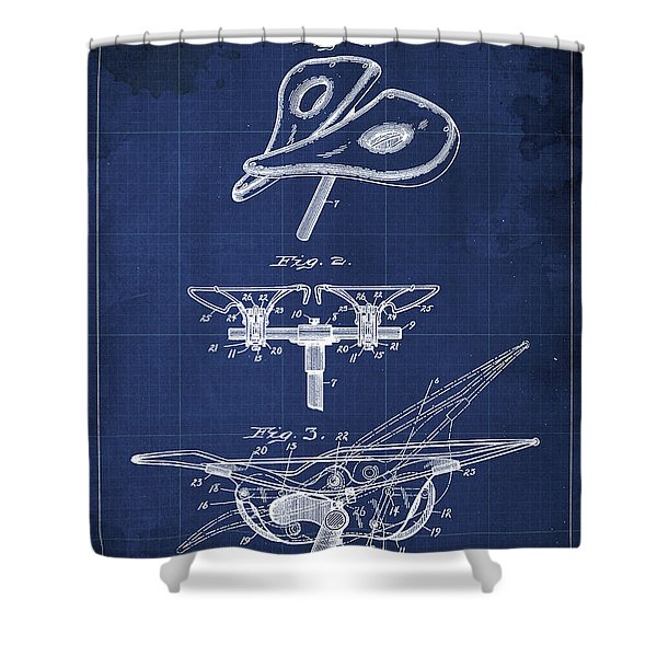 Bycicle Saddle Patent Blueprint, Year 1898, Blue Background Print Shower Curtain