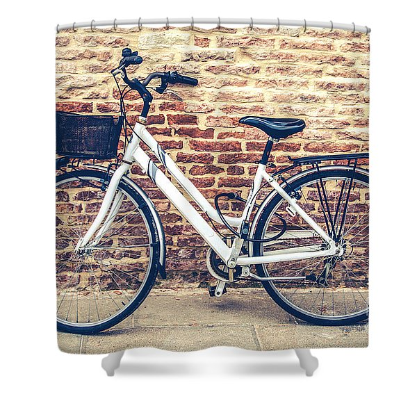 Bycicle Urban Canvas Red Brick Wall Prints Shower Curtain
