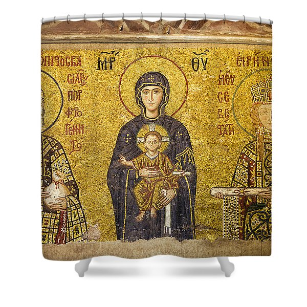 Byzantine Mosaic In Hagia Sophia Shower Curtain