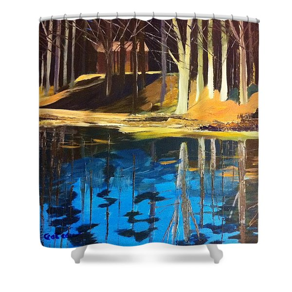 Shower Curtain featuring the painting Cabin #2 by Jane Croteau