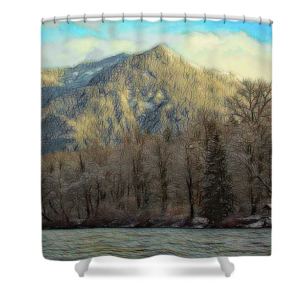 Cabin On The Skagit River Shower Curtain