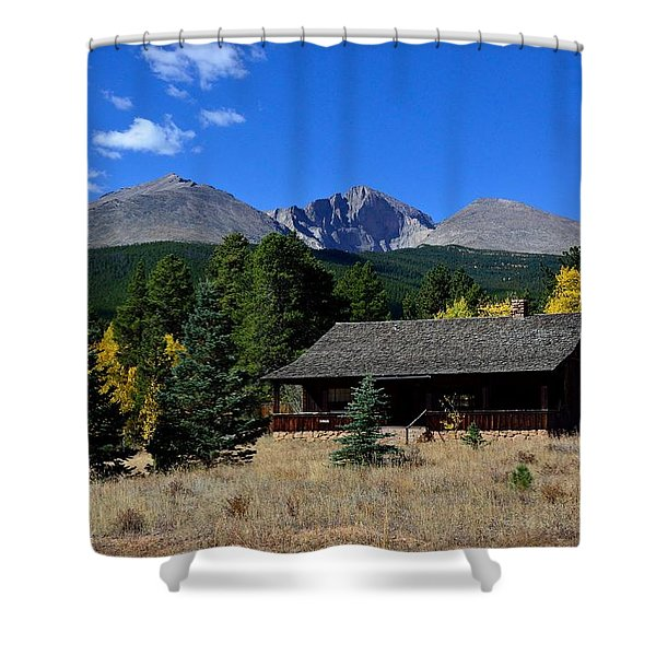 Cabin With A View Of Long's Peak Shower Curtain