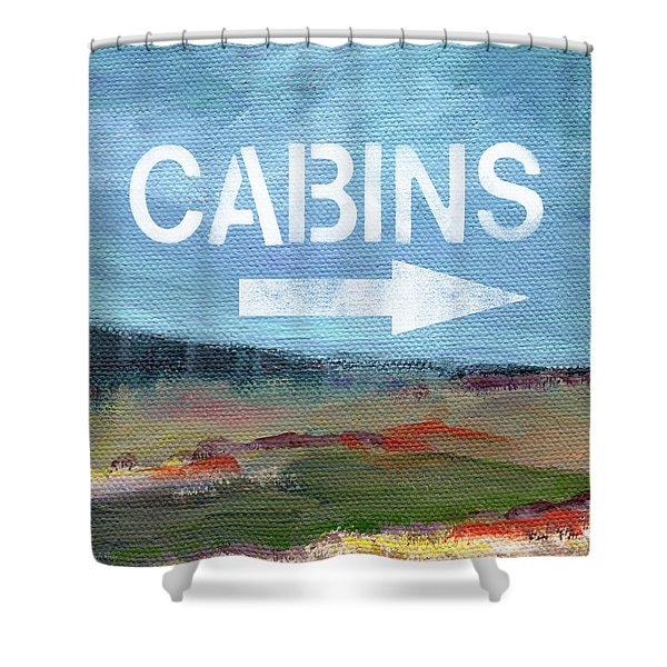 Cabins- Landscape Painting By Linda Woods Shower Curtain