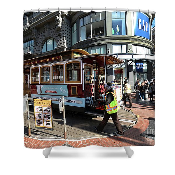 Cable Car Union Square Stop Shower Curtain