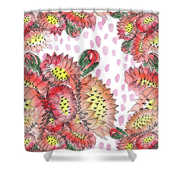 Cacti Flowers Shower Curtain
