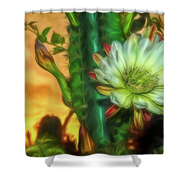 Cactus Flower At Sunrise Shower Curtain
