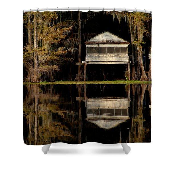 Caddo Lake Boathouse Shower Curtain