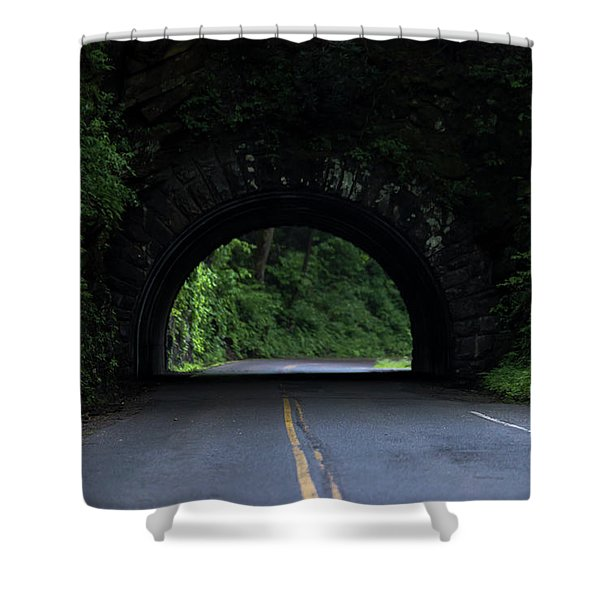 Shower Curtain featuring the photograph Cades Cove Entrance by Andrea Silies