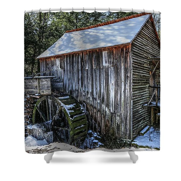 Cades Cove Grist Mill In Winter Shower Curtain