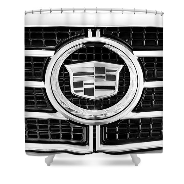 Cadillac Emblem Front Bw Shower Curtain