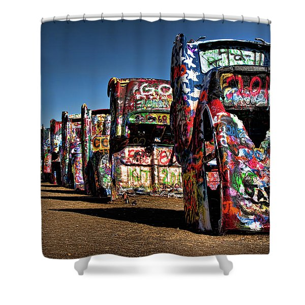 Cadillac Ranch Shower Curtain by Lana Trussell