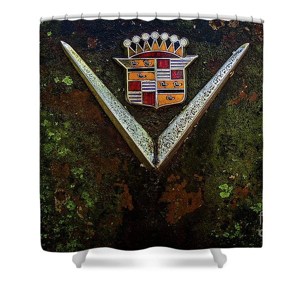 Cadillac Vee And Crest Shower Curtain