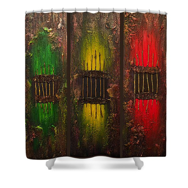 Caged Abstract Shower Curtain