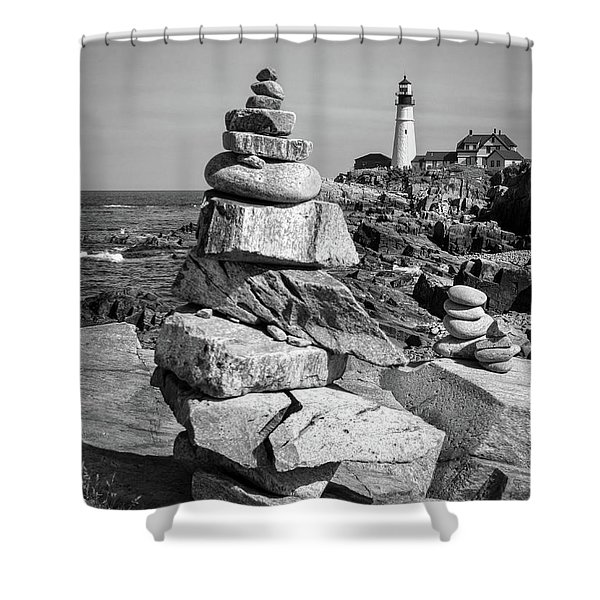 Cairn And Lighthouse  -56052-bw Shower Curtain