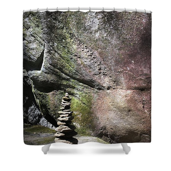 Cairn Rock Stack At Jones Gap State Park Shower Curtain