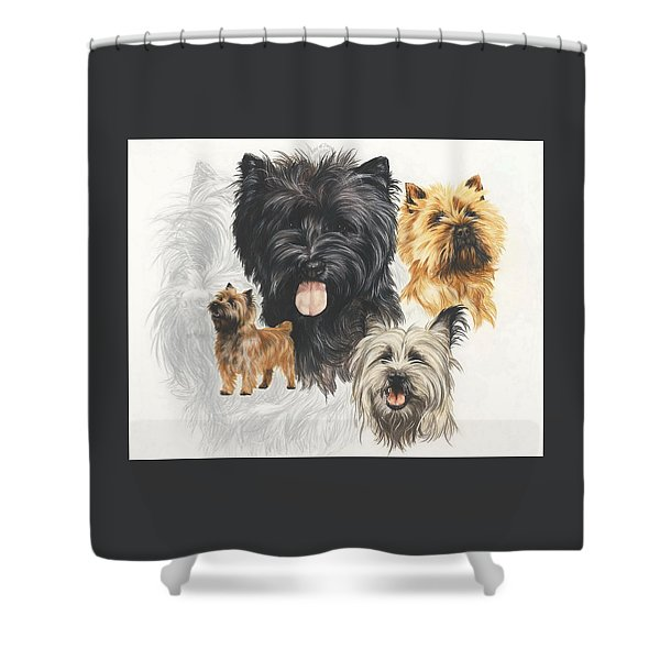 Shower Curtain featuring the mixed media Cairn Terrier Revamp by Barbara Keith