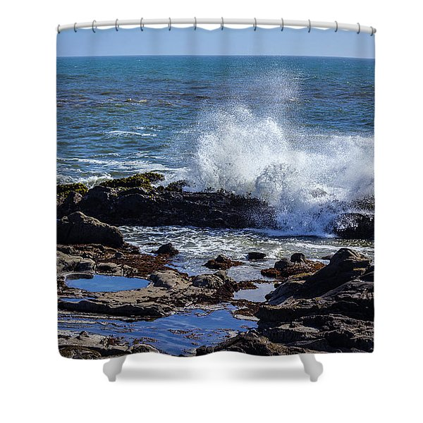 Wave Crashing On California Coast Shower Curtain
