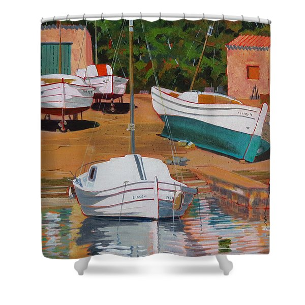Cala Figuera Boatyard - II Shower Curtain