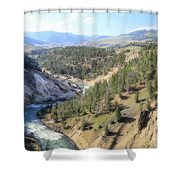 Calcite Springs Along The Bank Of The Yellowstone River Shower Curtain